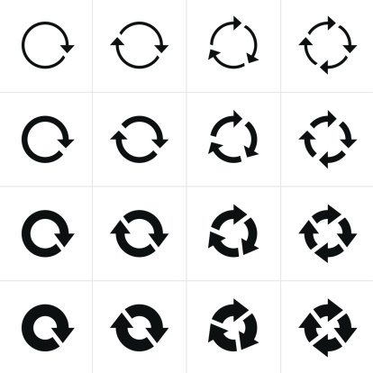 16 arrow pictogram black icon set. Simple refresh, reload, rotation, loop sign on white background. Modern contemporary solid plain flat mono minimal style.