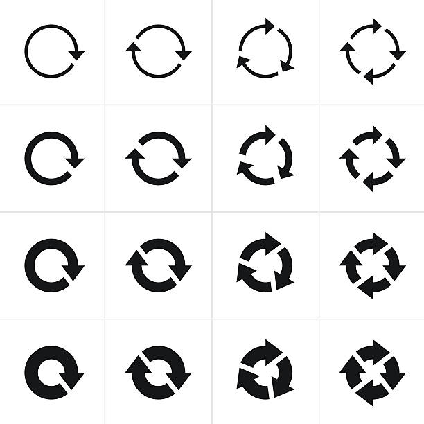 arrow sign black icon refresh reload rotation loop pictogram - refreshment stock illustrations, clip art, cartoons, & icons