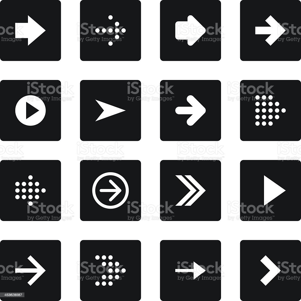 Arrow sign black square button icon flat plain simple style royalty-free stock vector art