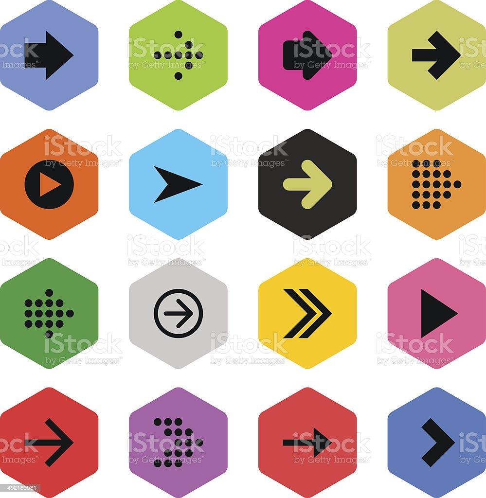 Arrow sign color hexagon button simple icon flat plain style royalty-free stock vector art