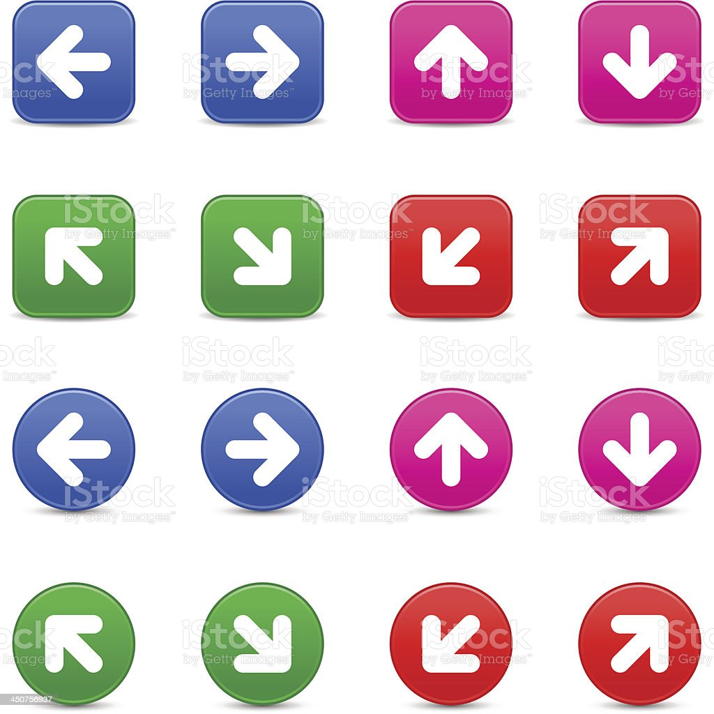 Arrow sign direction icon blue pink green red navigation button royalty-free stock vector art