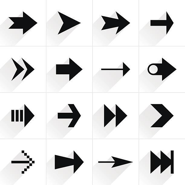 Arrow sign flat icon with long shadow – Vektorgrafik