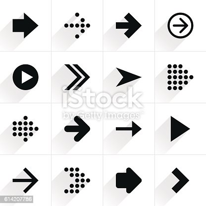 istock Arrow sign flat icon with long shadow 614207786