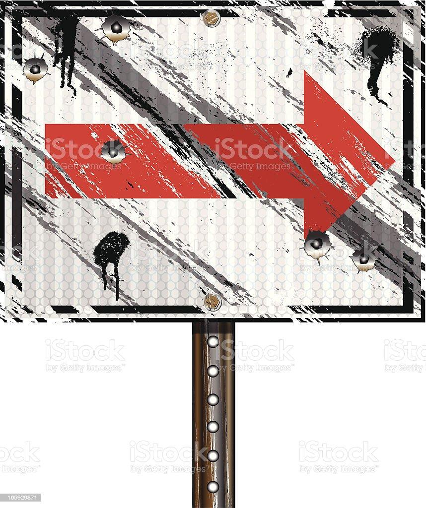 Arrow Sign | Grunge Bullet Holes royalty-free stock vector art