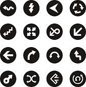 Arrow Sign Icons - Black Circle Series