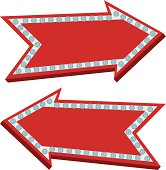 Vector Illustration of an arrow sign with light bulbs around it turned off.