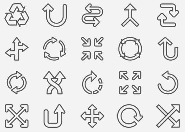 ilustrações de stock, clip art, desenhos animados e ícones de arrow sign line icons - reforma