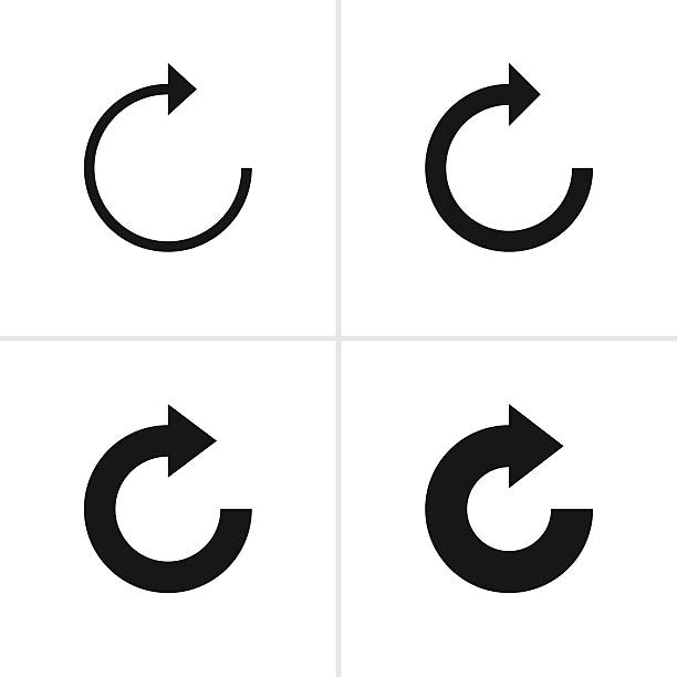 arrow sign refresh reload loop rotation pictogram black icon - refreshment stock illustrations, clip art, cartoons, & icons