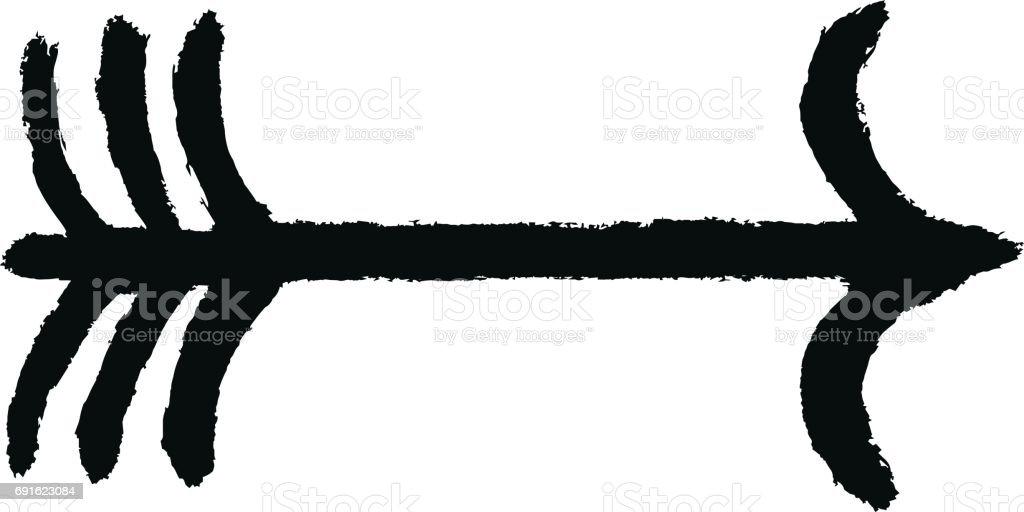 Ok Işareti Kroki Fırça Darbesi Stok Vektör Sanatı Bağlantınin