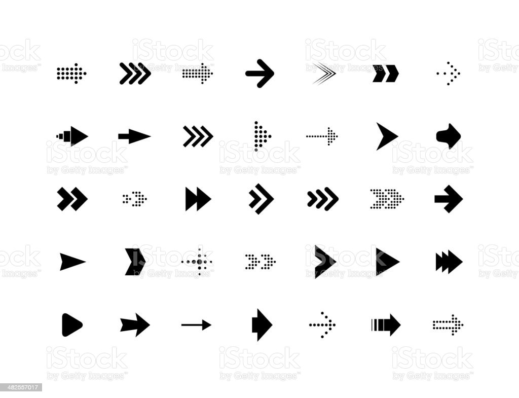 Arrow sign vector icons set vector art illustration