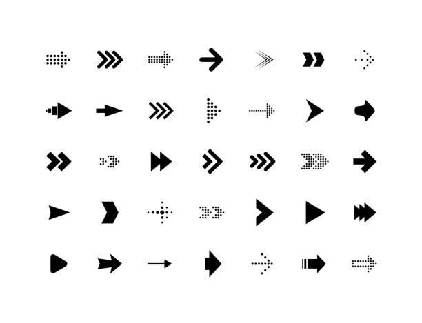 Arrow sign vector icons set vector art illustration