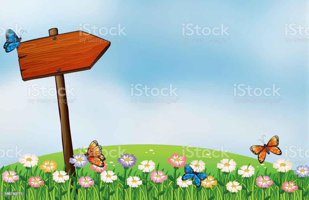 Arrow signboard and the butterflies royalty-free stock vector art