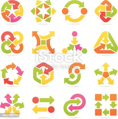 Set of 16 variable multi colored arrow signs, with shadows on individual layer. Large JPEG, (2800x2800), layered AI EPS 8. Archive: large 300 dpi layered PSD, screensize JPEG, 2 large PNG (icons and shadows), AI 7. Only linear gradients.