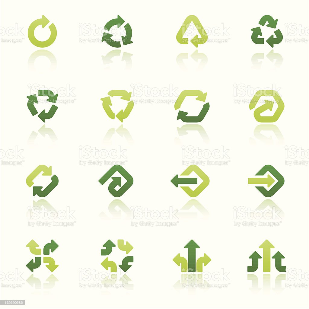arrow signs icon set IV fresh reflection royalty-free stock vector art