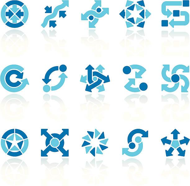 arrow signs set blue ix - complexity stock illustrations