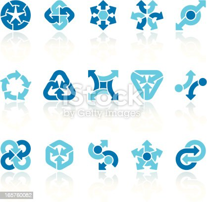 Set of 15 variable arrow signs, with reflections on individual layer. Large JPEG (3000x2928), layered AI EPS 8. Archive: screensize JPEG,  large 300 dpi layered PSD, 2 large PNG for icons and reflections, AI 7. Only linear gradients.