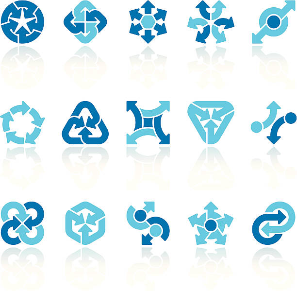 ilustrações, clipart, desenhos animados e ícones de conjunto de sinais de seta blue x - misturando