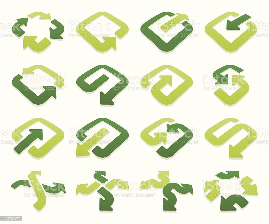 arrow signs volumetric vector art illustration