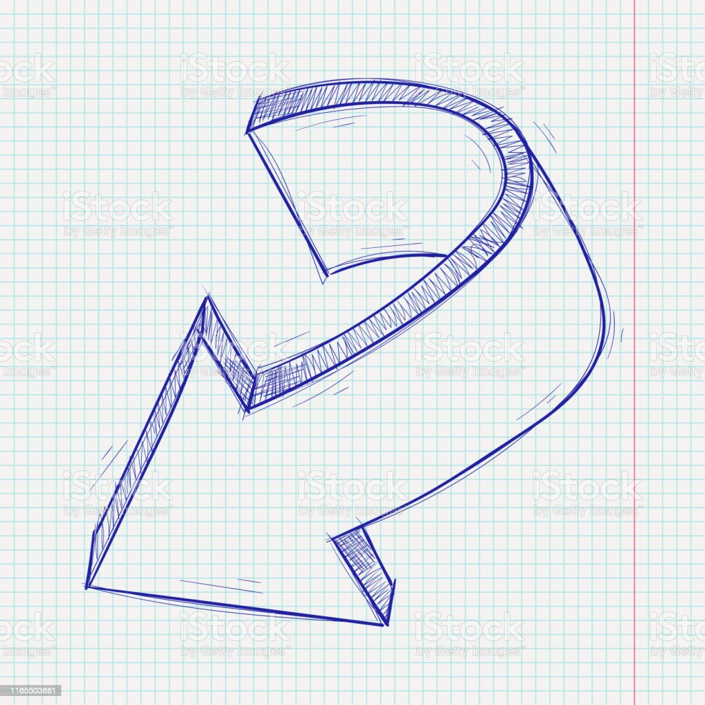 Arrow sketch. Down sign. Blue hand drawn doodle on lined paper...