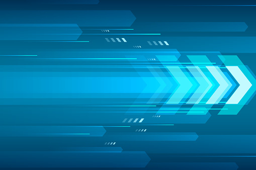 Arrow speed abstract blue background, communication data transfer technology concept.