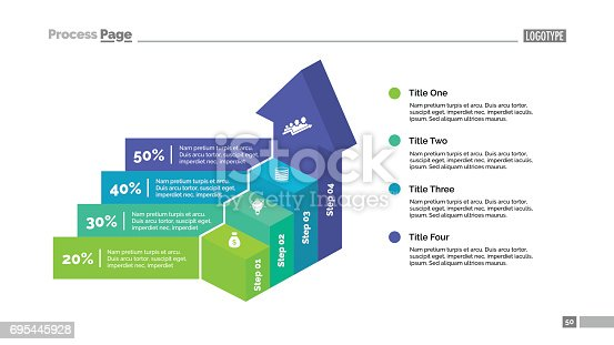 Four steps percentage chart and stairs. Business data. Growth, diagram. Concept for infographic, presentation, report. Can be used for topics like analysis, statistics, finance.