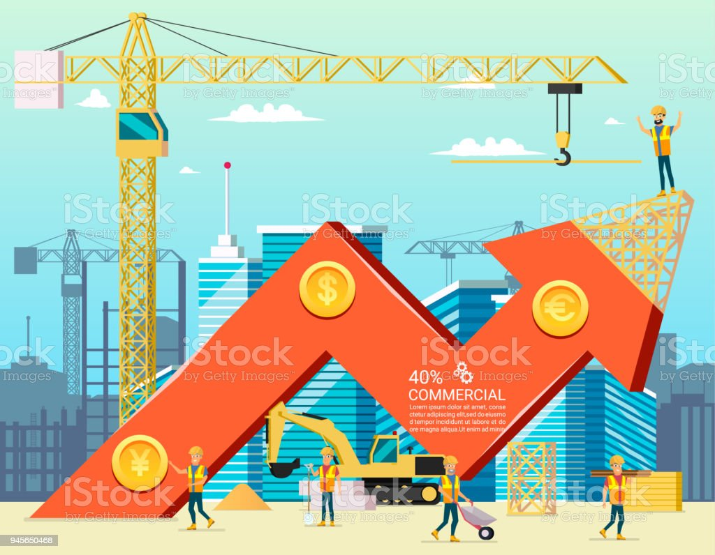 Arrow Stock Trade Graph of Housing Cost. Construction New Building in City. Vector Illsustration of Cartoon Worker Characters. Commercial Property. vector art illustration