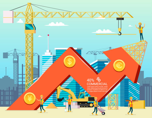 arrow stock trade graph of housing cost. construction new building in city. vector illsustration of cartoon worker characters. commercial property. - mieszkanie komunalne stock illustrations