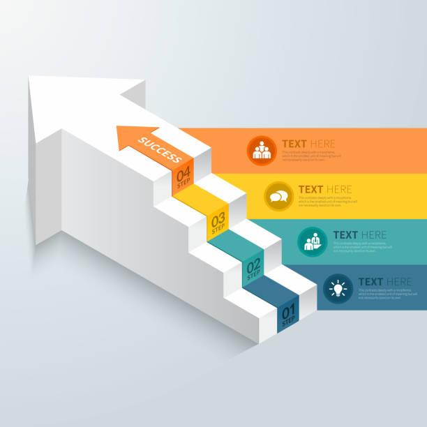 pfeil stpes infografik. - treppe stock-grafiken, -clipart, -cartoons und -symbole