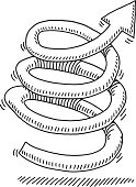 Hand-drawn vector drawing of an Arrow Swirl moving Upwards. Black-and-White sketch on a transparent background (.eps-file). Included files are EPS (v10) and Hi-Res JPG.