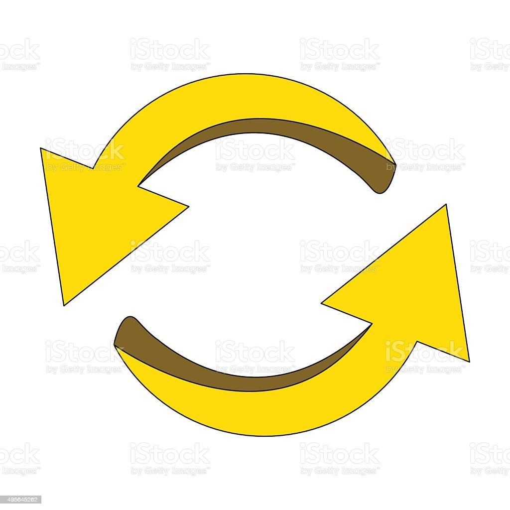 矢印記号黄色のアイコンのクリップアートサイクルのビジネスのコンセプト