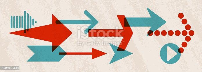 Arrow symbol pointing right horizontal.