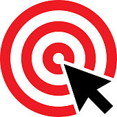 Vector illustration of a black arrow pointing at the center of a red target.