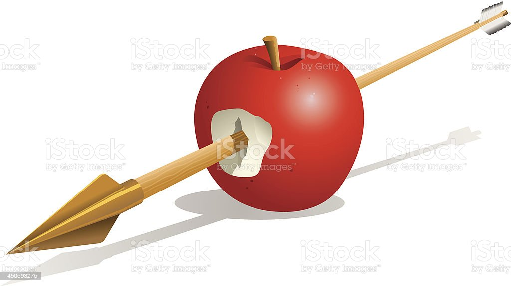 Arrow Through Apple vector art illustration