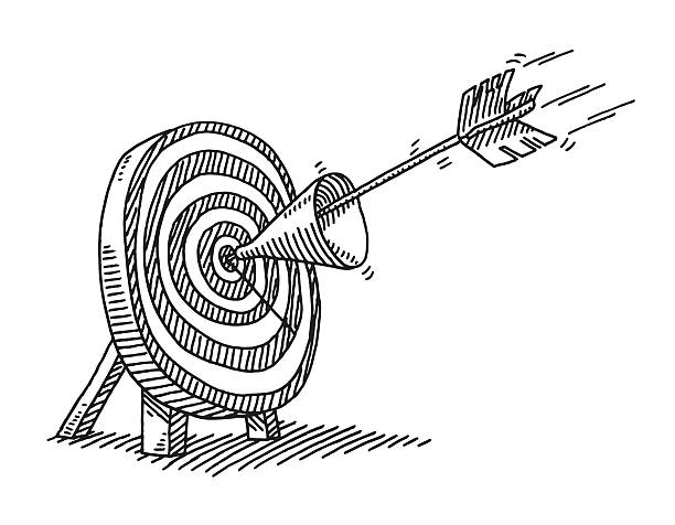 Arrow Through Funnel On Center Of Target Drawing Hand-drawn vector drawing of an Arrow, which hits the Center of the Target through a Funnel. Black-and-White sketch on a transparent background (.eps-file). Included files are EPS (v10) and Hi-Res JPG. business stock illustrations