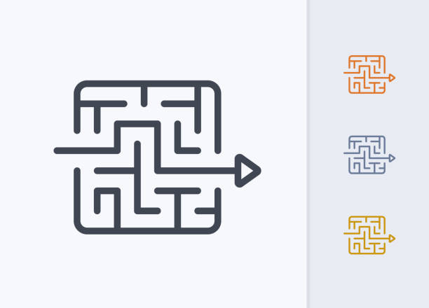 미로-파스텔 스트로크 아이콘을 통해 화살표 - 전략 stock illustrations