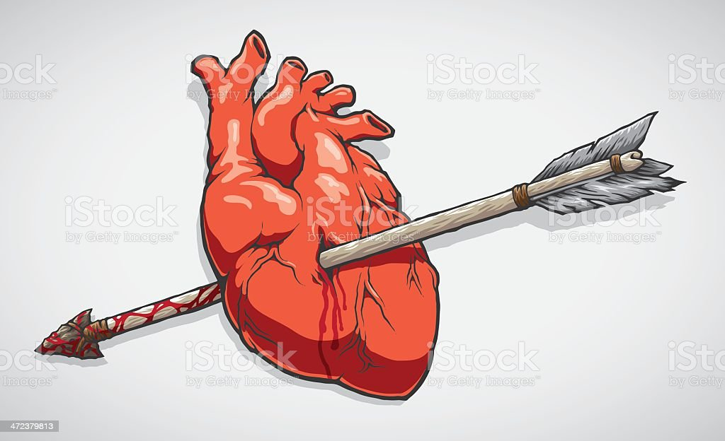 Arrow Through The Heart royalty-free stock vector art