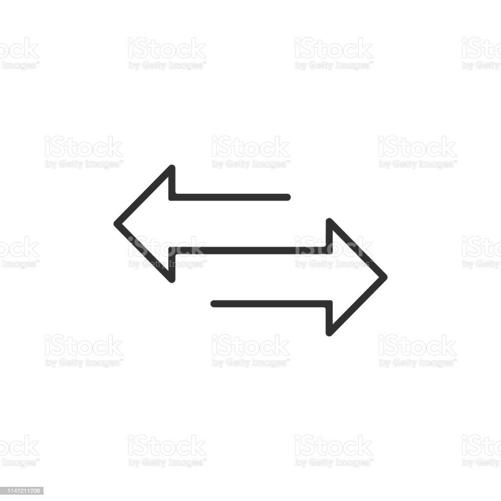 arrow to left and right line icon. isolated on white background. Vector illustration. - Grafika wektorowa royalty-free (Biały)
