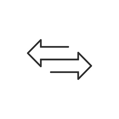 arrow to left and right line icon. isolated on white background. Vector illustration.