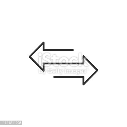 arrow to left and right line icon. isolated on white background. Vector illustration. Eps 10.