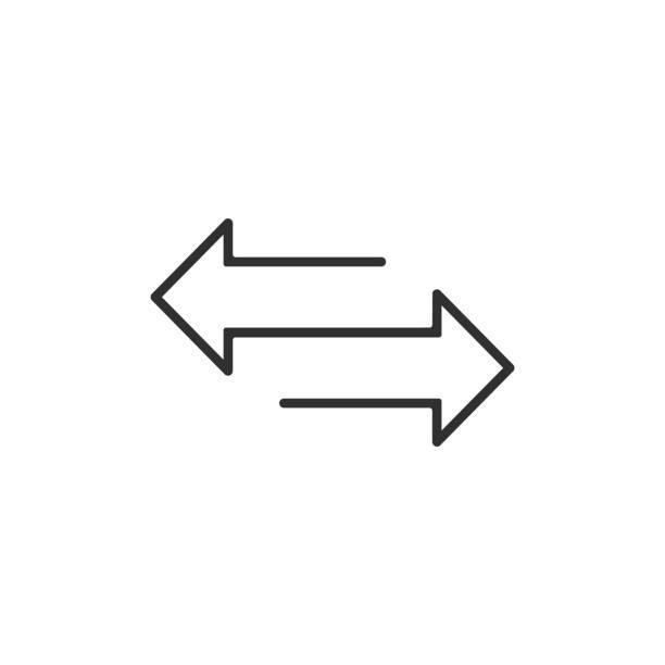 ilustrações, clipart, desenhos animados e ícones de seta para o ícone de linha esquerda e direita. isolado no fundo branco. ilustração do vetor. - moeda