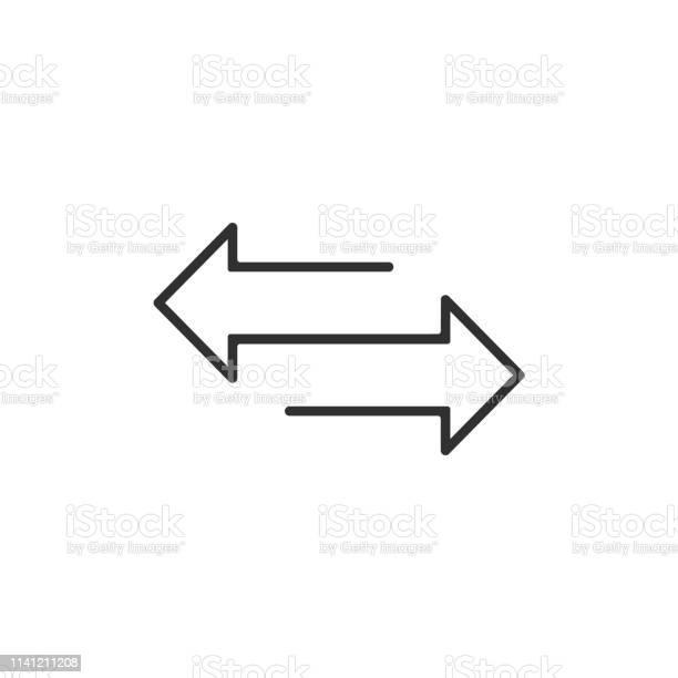 Arrow To Left And Right Line Icon Isolated On White Background Vector Illustration - Arte vetorial de stock e mais imagens de Baia Direcional