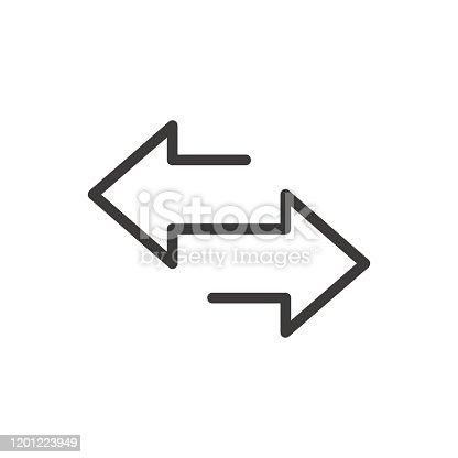 Arrow to left and right line icon. isolated on white background. Vector illustration