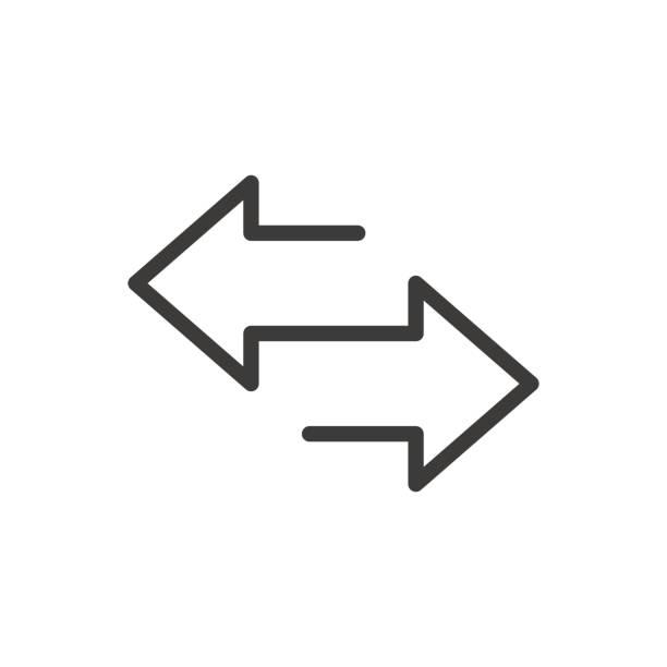 ilustrações, clipart, desenhos animados e ícones de arrow para a esquerda e ícone da linha direita. isolado no fundo branco. ilustração do vetor - dois objetos