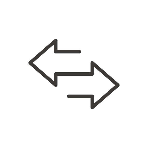 Arrow to left and right line icon. isolated on white background. Vector illustration Arrow to left and right line icon. isolated on white background. Vector illustration repetition stock illustrations