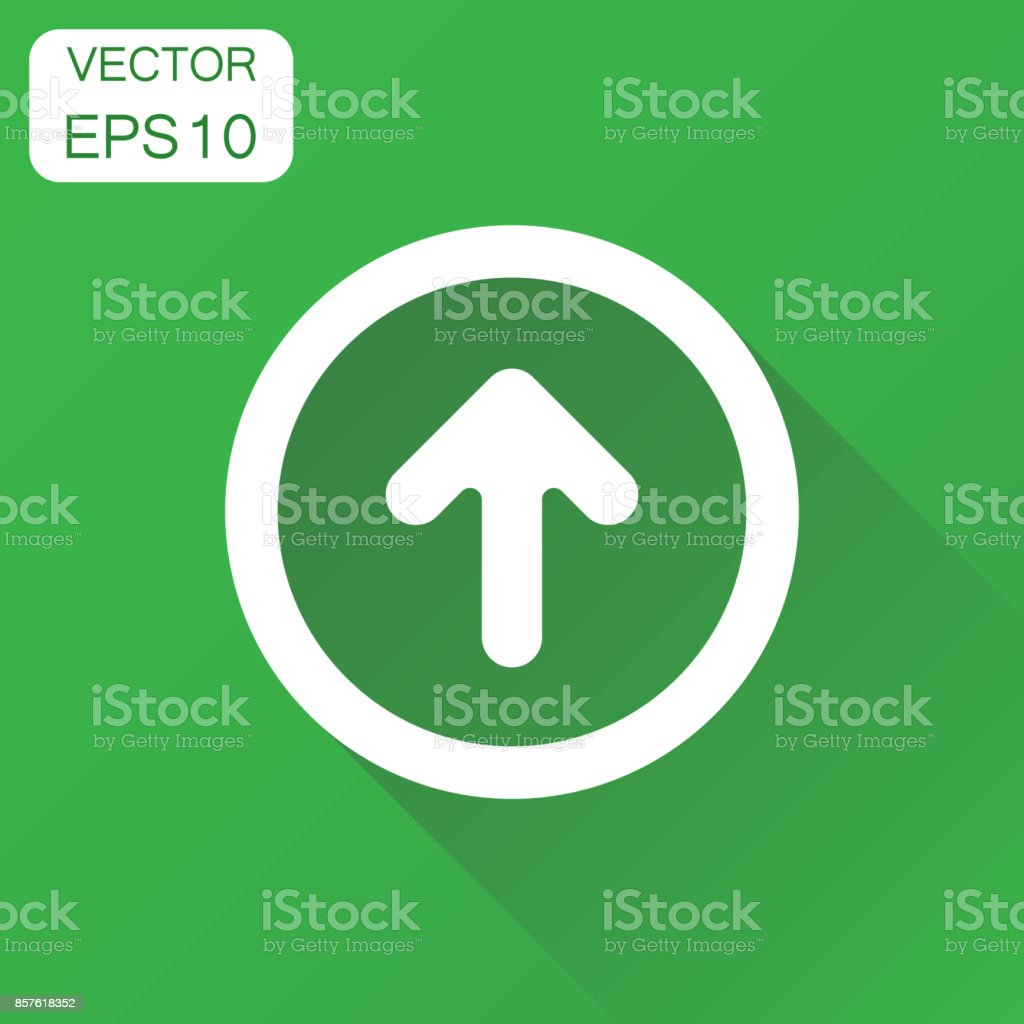 Arrow up icon. Business concept forward arrow pictogram. Vector illustration on green background with long shadow. vector art illustration