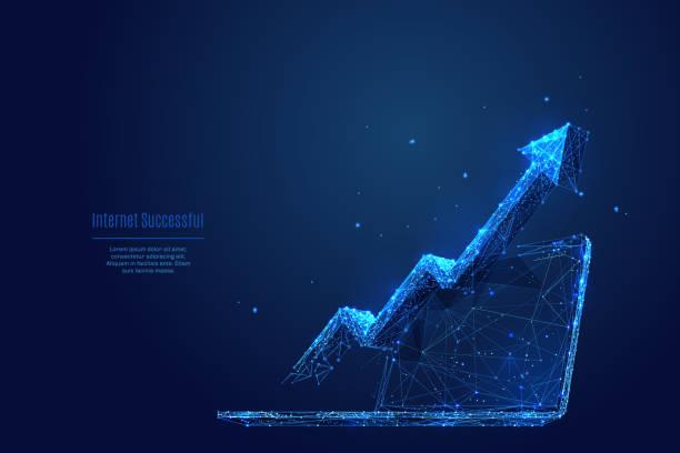 Pfeil nach oben auf dem Laptopbildschirm. Internet-Service – Vektorgrafik