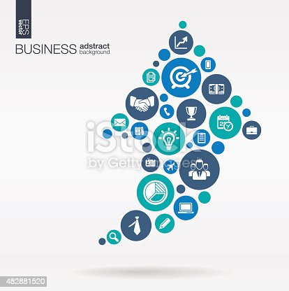 istock Arrow up shape business illustration: connected circles, integrated flat icons 482881520