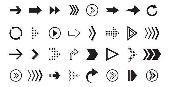Arrow vecor icon. Black graphic pointer for direction, sign forward and down, around. Navigation cursor collection for app, computer. Set of flat linear arrows for download. vector illustration