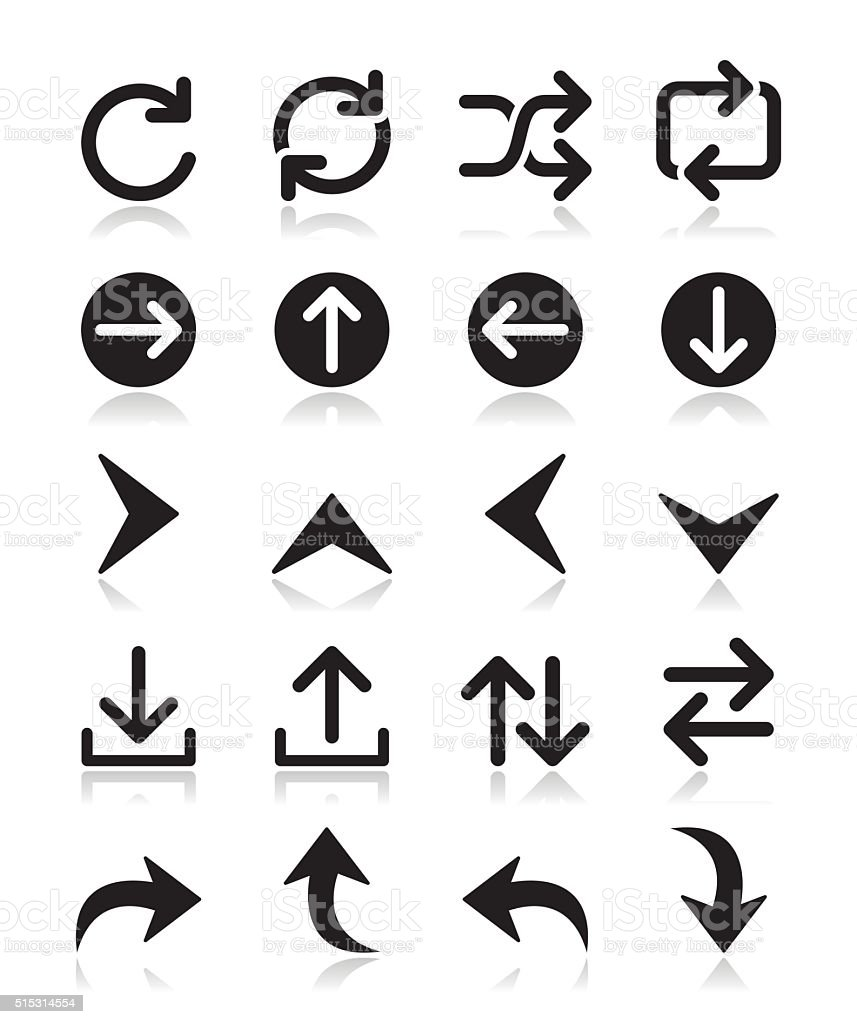 Arrow vector icon sets isolated on white vector art illustration