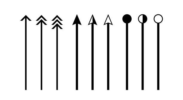 ilustrações, clipart, desenhos animados e ícones de linha vertical de seta isolada em branco, linhas e setas indicam a dimensão do desenho, ponta de flecha preta em uma linha vertical, linha de seta para escala de dimensão, seta de linha vertical de clip art - longo